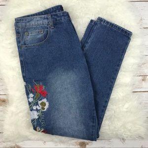 Boohoo Blue Embroidered High Waist Jeans